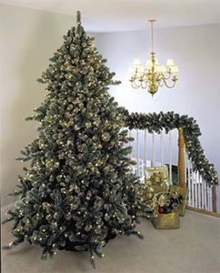 Prelit, Pre-lit or Prelighted Artificial Arctic Mist Christmas Trees Wreaths & Garland