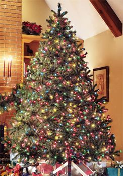 Prelit, Pre-lit or Prelighted Artificial Douglas Fir Christmas Trees & Garland