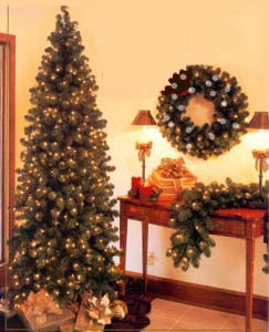Prelit, Pre-lit or Prelighted Artificial Oregon Fir Christmas Trees Wreaths & Garland